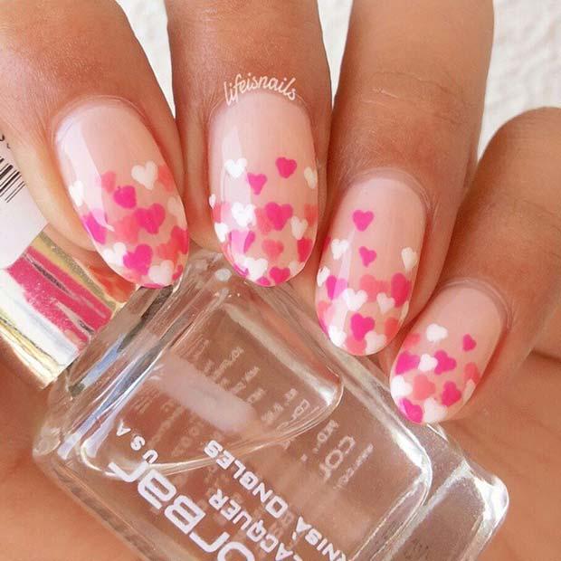 Stylish Ombre Heart Nails