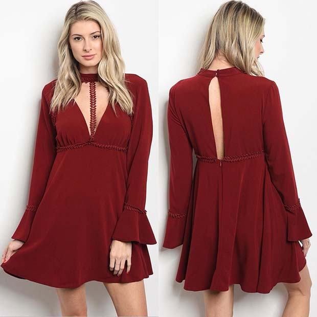 Stylish Red Dress Outfit Idea