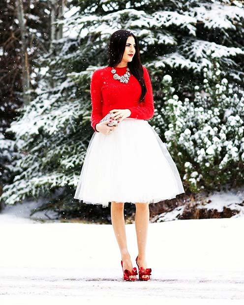 White Tulle Skirt and Red Sweater
