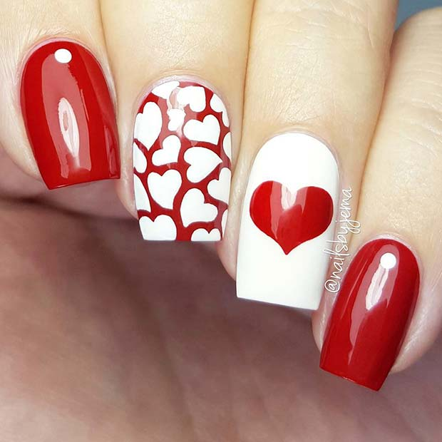 Valentine's Day Heart Nails