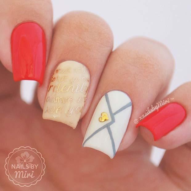 Valentine's Letter Nails