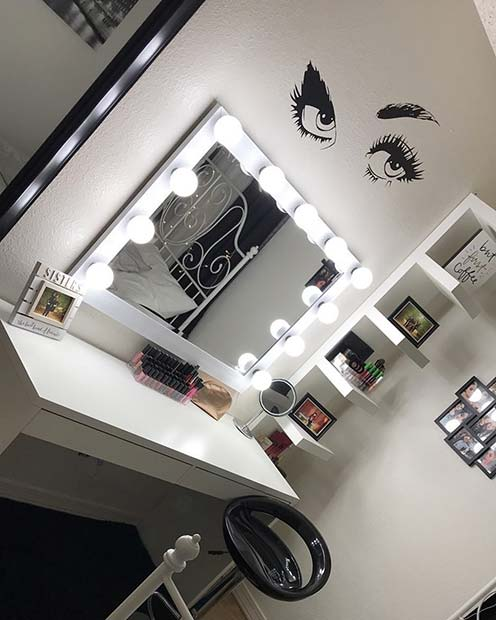 Vanity Table with Wall Stickers