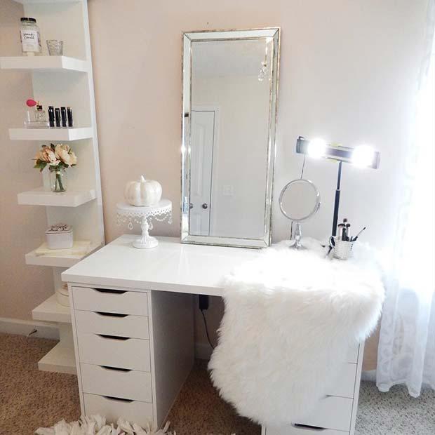 Elegant White Ikea Vanity Table