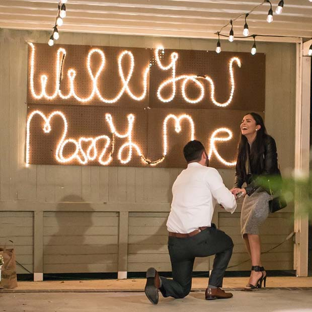 Simple Wedding Proposal with Lights