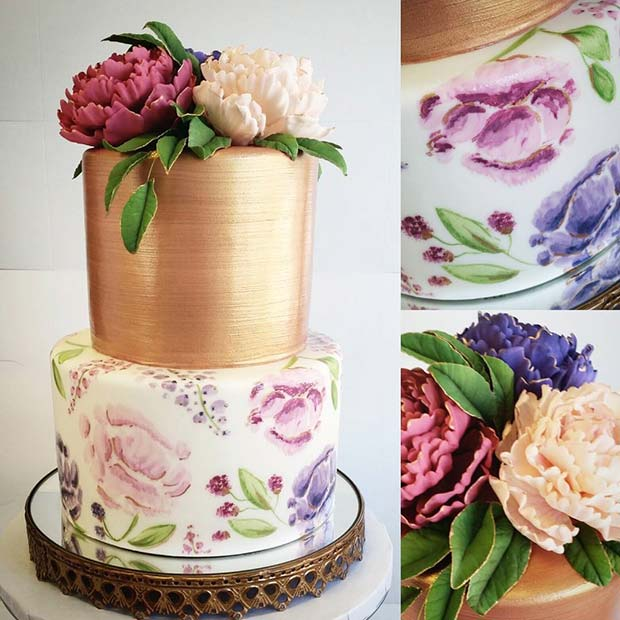 Artistic Floral and Gold Wedding Cake