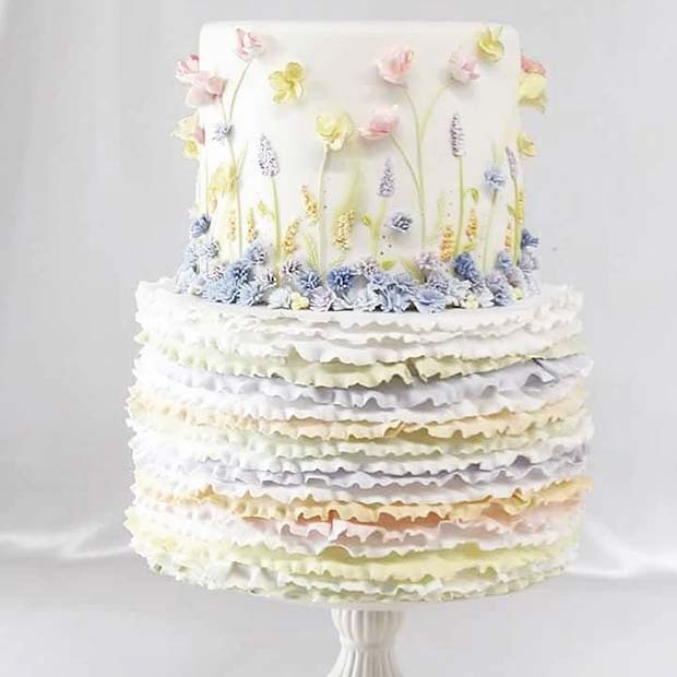 Beautiful Ruffle Wedding Cake