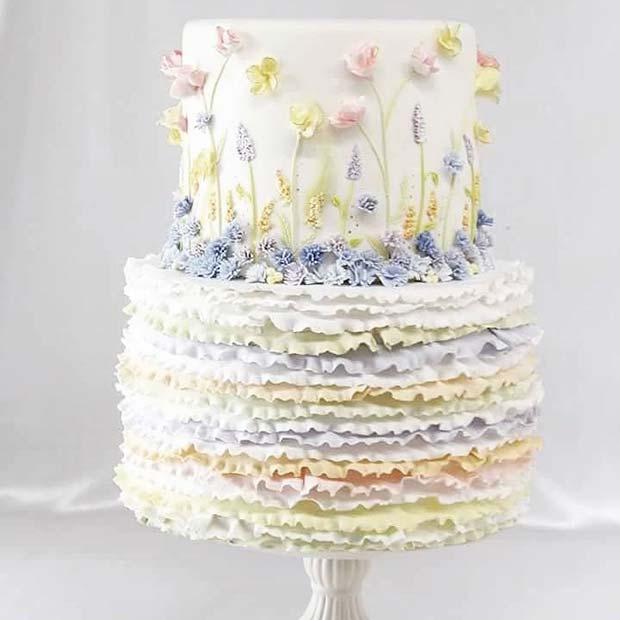 Beautiful Ruffle Wedding Cake