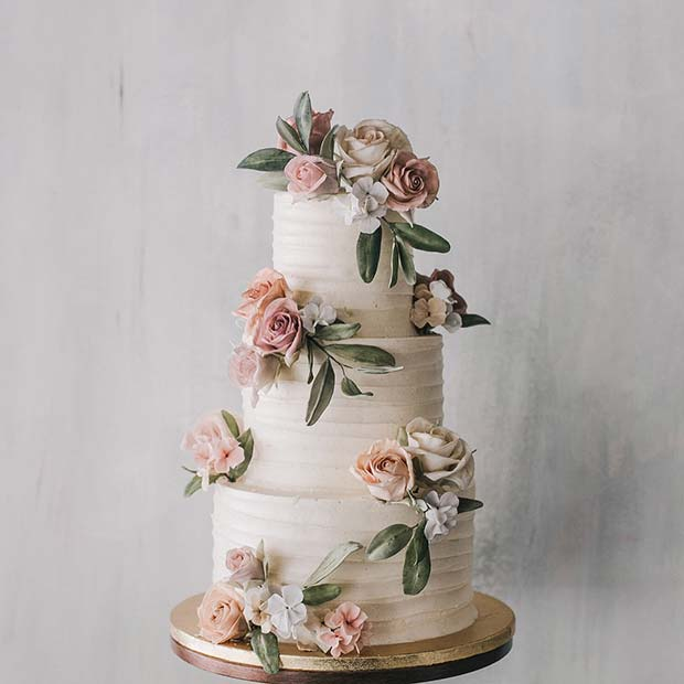 Beautiful Three Tier Floral Wedding Cake