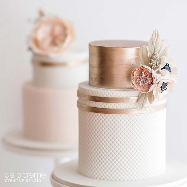 Rose Gold Wedding Cake with Flowers