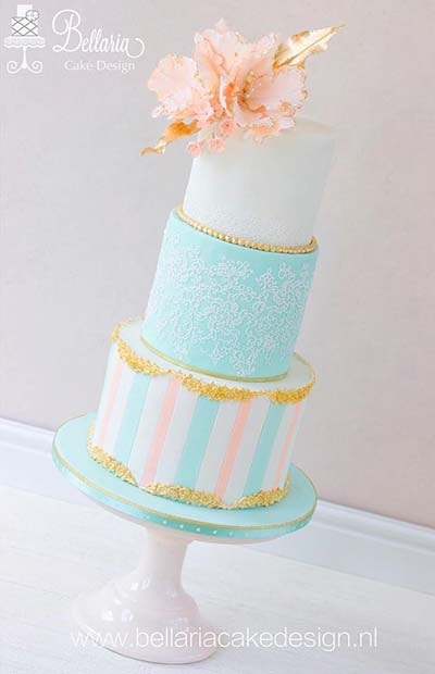 Creative Light Blue Wedding Cake