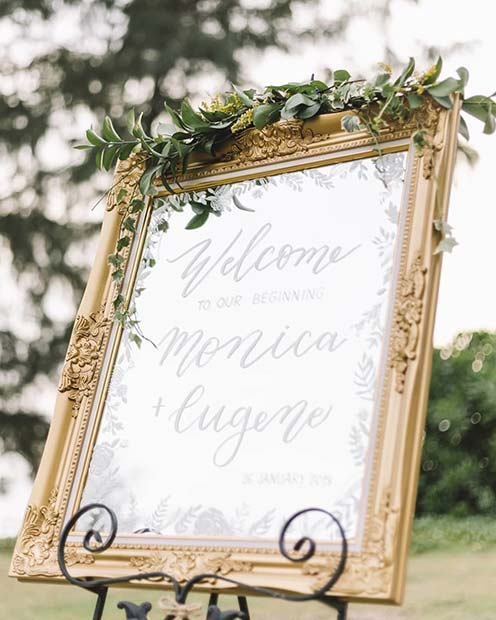 Creative Welcome Mirror Wedding Sign