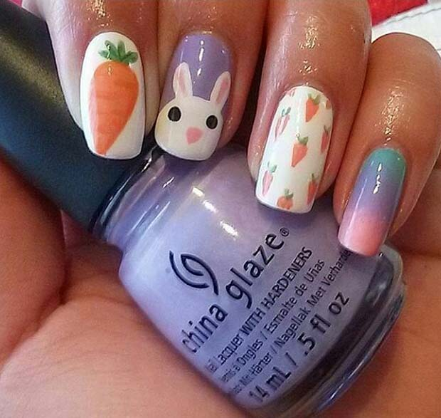 Cute Bunny and Carrot Nails