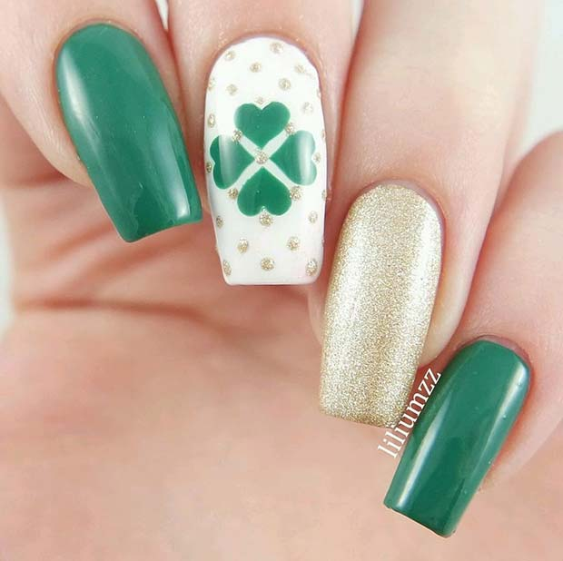Cute Clover Nail Art Design