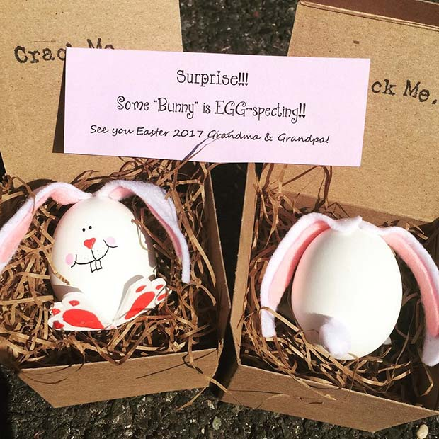 21 easter pregnancy announcement ideas page 2 of 2 stayglam cute easter bunny pregnancy announcement idea negle Images