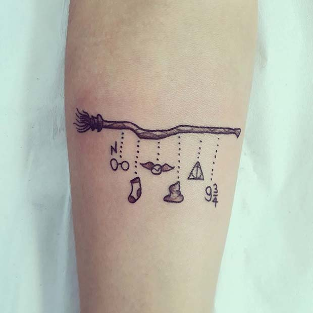Cute Harry Potter Theme Tattoo