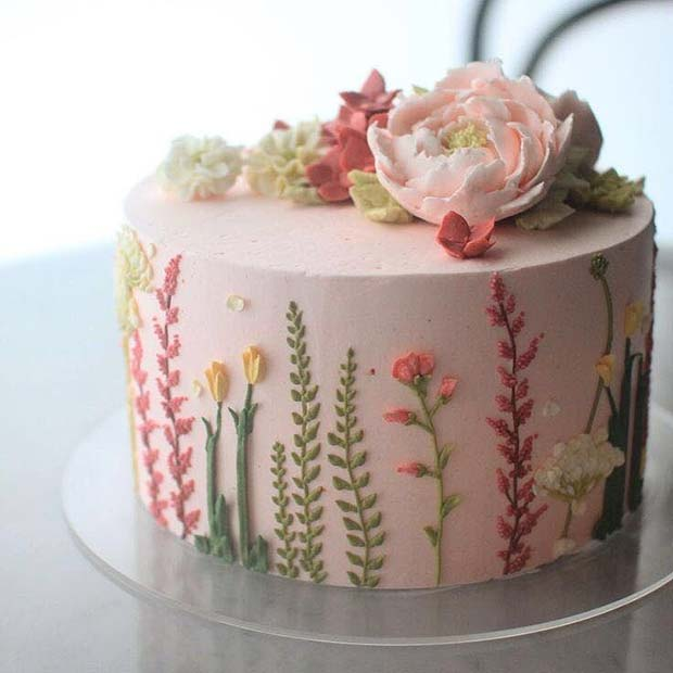 Cute Small Floral Wedding Cake
