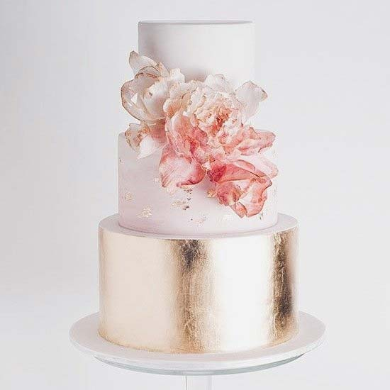Delicate Pink and Gold Wedding Cake