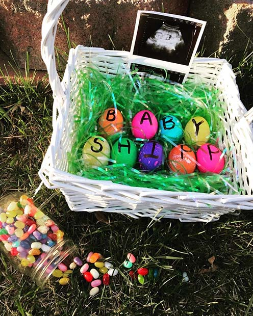 Easter Basket Pregnancy Announcement Idea