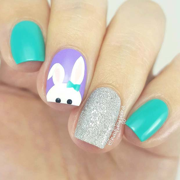 Easter Bunny and Glitter Nails