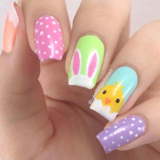 Easter Chick and Bunny Nails