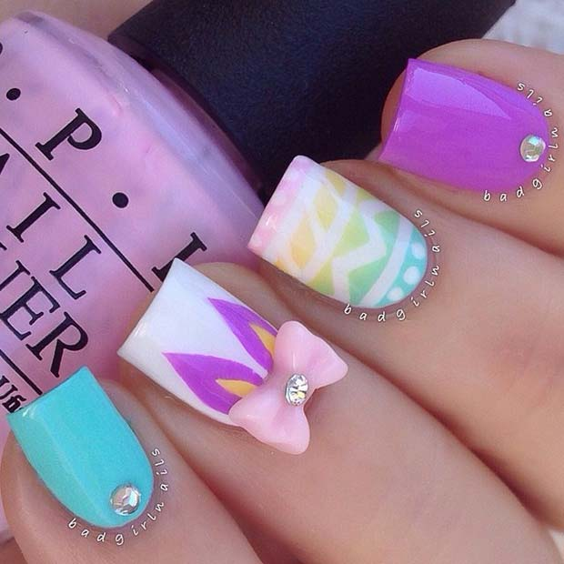 Easter Egg and Bunny Nail Art