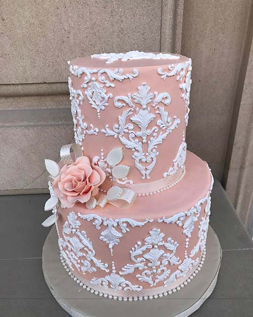 Elegant Pink and White Lace Wedding Cake