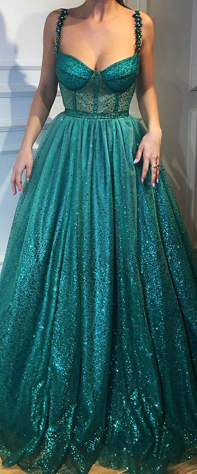 Elegant Turquoise Prom Dress