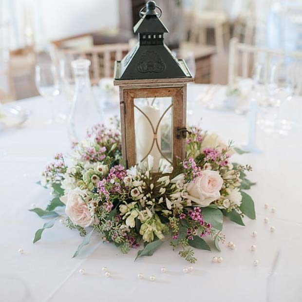 Floral Lantern Table Centerpiece
