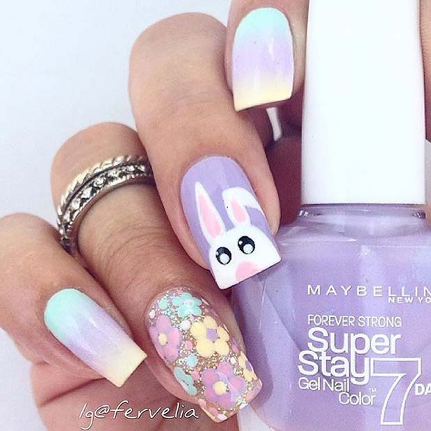 Floral and Bunny Nail Design
