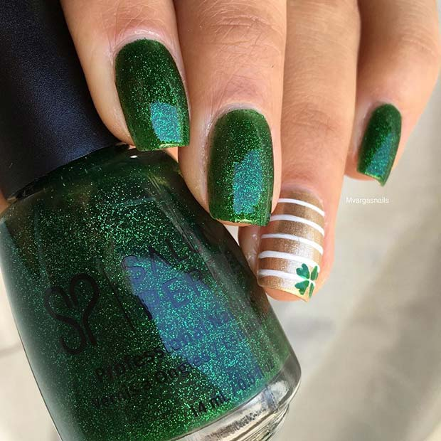 Glitter Irish Green Nails