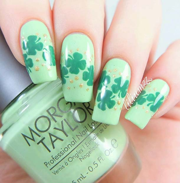 Green Lucky Clover Nails