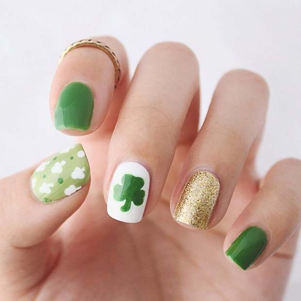 Irish Shamrock Nails