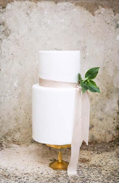 Simple All White Wedding Cake