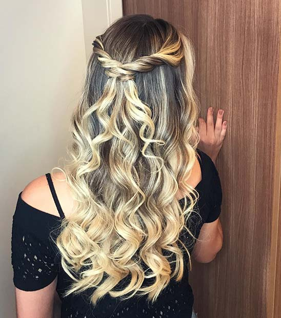 Loose Curls and Twists Half Updo
