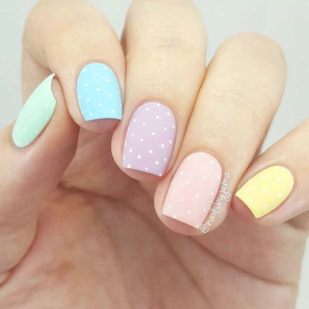 Pastel Polka Dot Nails