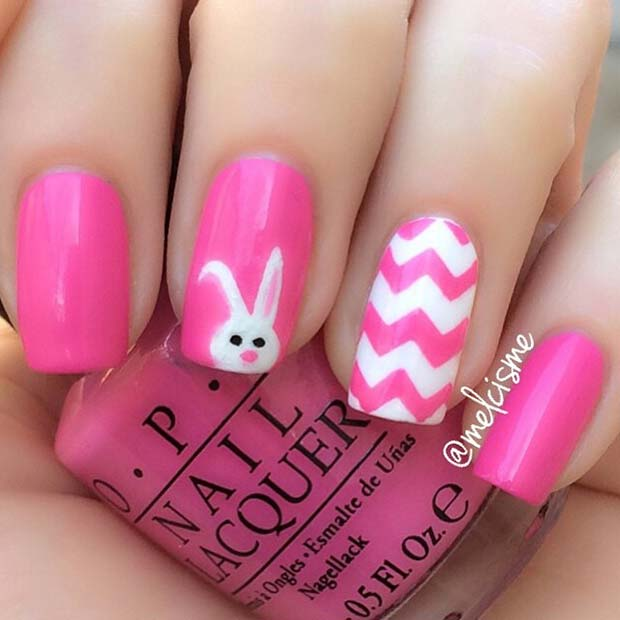Pink and White Easter Chevron Design