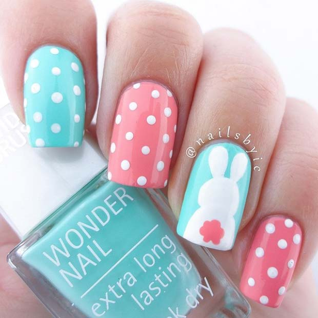 Polka Dots and Easter Bunny Nails