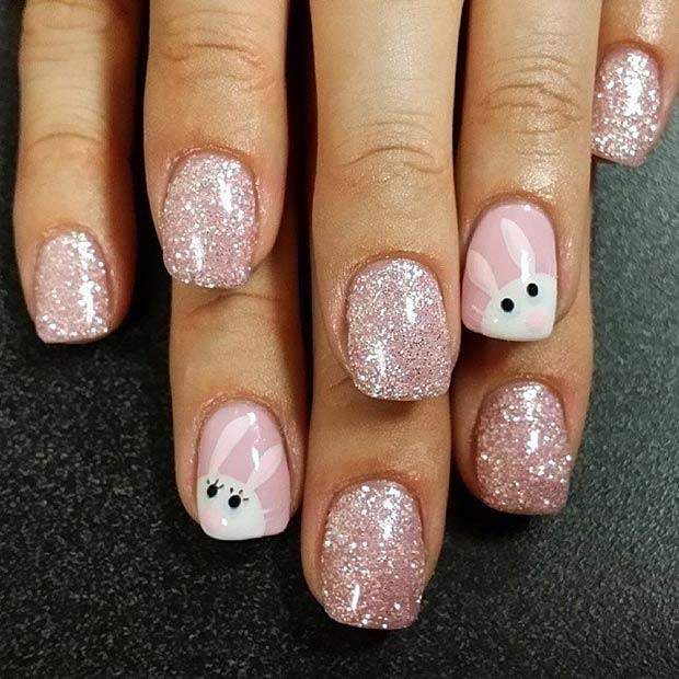 Pretty Glitter and Bunny Nails