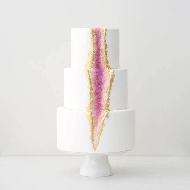 Pretty Pink Geode Wedding Cake
