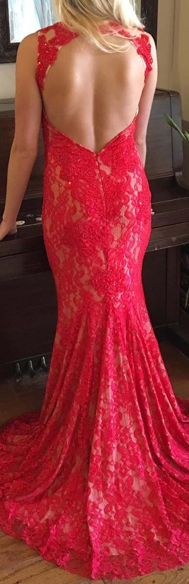 Long Red Lace Dress for Prom