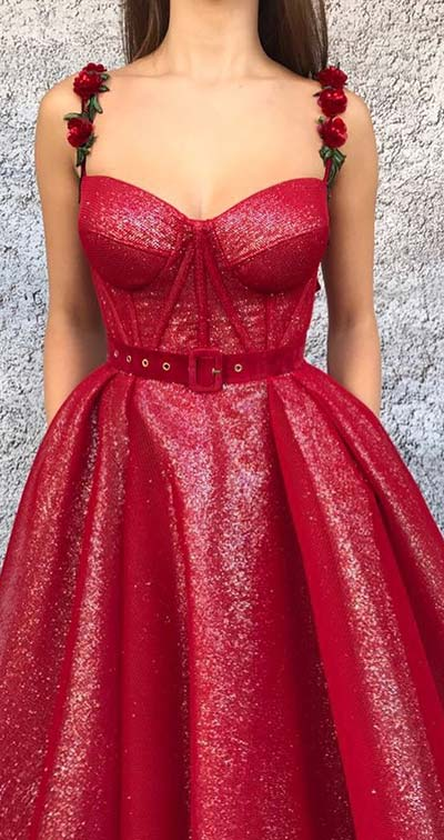 Red Rose Prom Dress