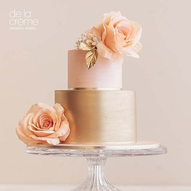 Rose Gold and Pink Wedding Cake with Flowers