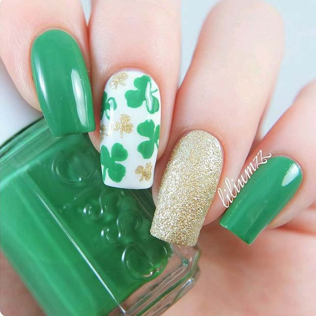 Shamrock, Green and Gold Nail Designs