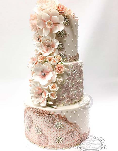 Show Stopping Wedding Floral Cake