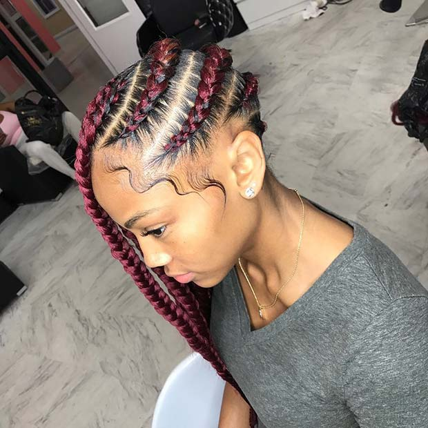 Side Braids with Burgundy