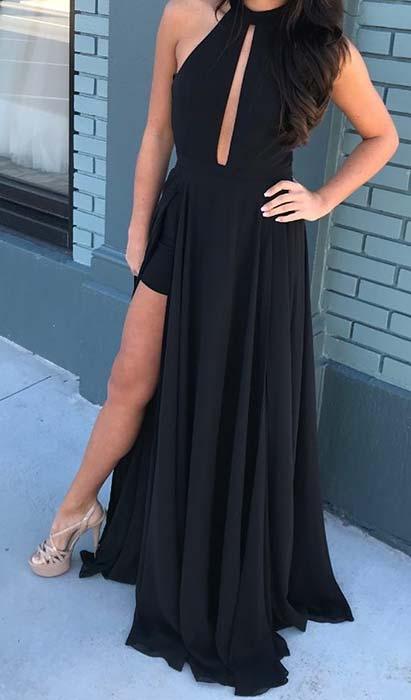 Black Side Split Prom Dress