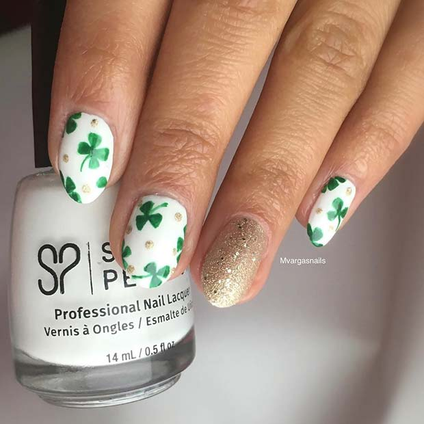 Sparkly Shamrock St Patrick's Nails