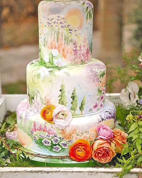 Spring Floral Wedding Cake Idea