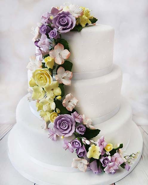 Spring White Floral Cake