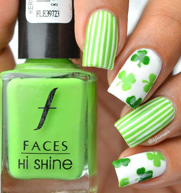 Stripes and Shamrocks Nail Art Design